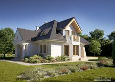 Projekty domów LK&Projekt LK&1410 wizualizacja 2 House Front, Home Fashion, Mansions, House Styles, Case, Home Decor, Projects, Decoration Home, Manor Houses