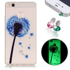 Buy Huawei P9 Lite Case Cover TPU Case, New Fashion Luminous Colorful Printing Ultra Thin Anti-Fingerprint Scrub Anti-Scratch for Huawei P9 Lite + 2pcs Shine Diamond Anti Dust Plug - Blue Dandelion NEW for 2.89 USD | Reusell