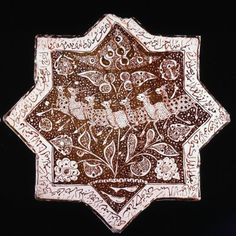 Eight-pointed star tile Islamic Patterns, Tile Patterns, Ceramic Pottery, Pottery Art, Mosaic Kits, Ceramic Boxes, Antique Tiles, Iranian Art, Ceramic Techniques