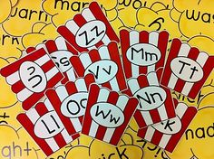 Popcorn word wall? circus: alphabet popcorn boxes free download, use crumbled paper for popcorn