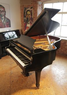 A 1972, Steinway Model A grand piano with a black case and spade legs. Eighty-eight note keyboard and a three-pedal lyre at Besbrode Pianos £30,000