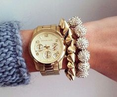 Micheal Kors watch. So pretty. Want. Jewelry gold