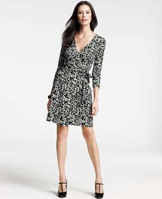 Abstract City Print 3/4 Sleeve Jersey Wrap Dress