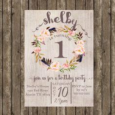 Birthday Party Invitation for Girls Printable, Birthday Party Invitation Girl, Shabby Chic Birthday Invitation, Girl Birthday Invitation by SunbirdPrintables on Etsy https://www.etsy.com/listing/251953843/birthday-party-invitation-for-girls