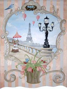 La Lampe wall hanging by me, Kris Langenberg original art.  Paris Art