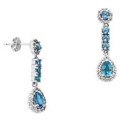 Lord & Taylor Blue Topaz Drop Earrings ($120) ❤ liked on Polyvore featuring jewelry, earrings, blue, lord taylor jewelry, blue topaz jewelry, blue earrings, blue jewellery and blue topaz earrings