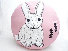 Cushions – Round pillow: Scandinavian rabbit – a unique product by DianaP-Art on DaWanda