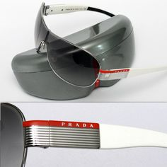 Prada Sunglasses (Men's Pre-owned Logo Plate Metal Silver & White Designer Sun Glasses)