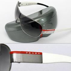 Prada Sunglasses (Men's Pre-owned Logo Plate Metal Silver & White Designer Sun Glasses)