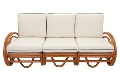 Midcentury bentwood sectional sofa in the style of Paul Frankl. Made of bent bamboo pieces curved to create elegant shaped arms and hairpin-shaped front supports. New seat cushions are upholstered. Sectional Sofa, Couch, Bamboo Sofa, Outdoor Sofa, Seat Cushions, Love Seat, Mid Century, Indoor, Elegant