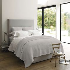 Buy Clearance > Bedspreads & Cushions > Silver Bergamo Quilt & Cushion from The White Company