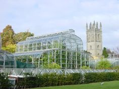 University of Oxford Botanic Gardens glasshouse (GB) with Magdalen College Tower in background. Oldest botanic garden in England