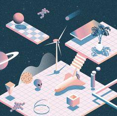 Wisdom of Floating on Behance Isometric Art, Isometric Design, Vector Design, Vector Art, Game Design, Design Art, Graphic Design Illustration, Illustration Art, Startup
