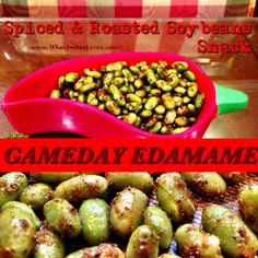 Yep, like all of y'all, I serve wings, little sandwiches, chips & dips, and more as snack foods for the hubby while he watches football throughout the season, and I also serve spiced edamame. There are a variety of ways to season soybeans (a.k.a. Edamame) when roasting. Garlic and parmesan is pretty popular and so is this 6 season blend. My husband, Mitch, and our daughters LOVE the spiced, roasted Edamame! Here's how I served it, today, during the Arkansas/Ole Miss game: