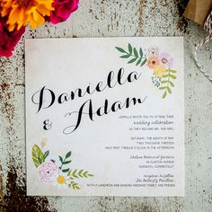 Rustic Wedding Invitations - the Daniella - Vintage, calligraphy, floral, swag, flowers, square invitation, RSVP, hang tag,