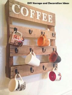 Coffee rack, hang your favorite coffee mugs.. wooden coffee rack