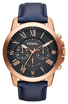 Fossil 'Grant' Round Chronograph Leather Strap Watch, 44mm
