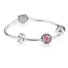 Pandora Open Hearts Bracelet Gift Set ($195) ❤ liked on Polyvore featuring jewelry, bracelets, white jewelry, pandora bangle, pink jewelry, pandora jewellery and pandora gift sets #JewelryPandora
