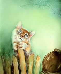 8x10in А4A3 medium large PRINT cute kitty Art by VenusSapiens
