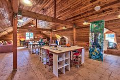 Rustic Playroom with Hardwood floors & Columns in Glenbrook, NV | Zillow Digs