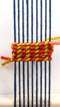 DIY Weaving Tutorial: Twining StripesYou can find Weaving projects and more on our website. Weaving Loom Diy, Weaving Art, Tapestry Weaving, Hand Weaving, Rug Loom, Straw Weaving, Weaving Textiles, Weaving Patterns, Weaving Wall Hanging