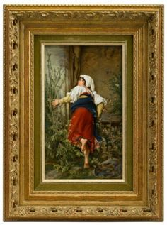 KPM porcelain plaque ~ Depicting a barefoot peasant woman at a shrine ~ signed Emil Eckarkdt ~ Dresden ~ Origin Germany ~ Circa 1880-1900