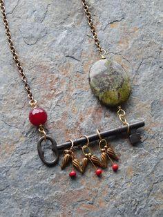 Skeleton Key Necklace Rustic Master Key lever lock key grungy old key necklace long bohemian necklace steampunk alternative dragons blood