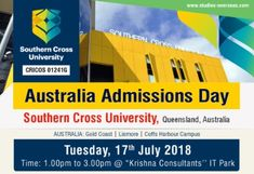 Australia Admission Day - Meet Southern Cross University, Australia on 17th July 2018 from 1.00 pm to 3.00 pm at Krishna Consultants, I.T Park, Nagpur !!