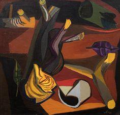 Renato Guttuso (1911-1987), Natura morta notturna / Still life Night, 1948. oil on canvas, 58 x 60 cm