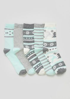 5 Pack Fairisle Socks