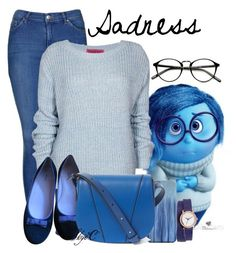 """""""Sadness - Disney Pixar's Inside Out"""" by rubytyra ❤ liked on Polyvore featuring Disney, Topshop, Nixon, Marc Jacobs, Vince, women's clothing, women, female, woman and misses"""