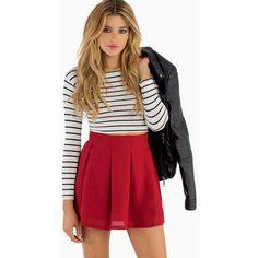 Tobi Casting Spells Skater Skirt ($36) ❤ liked on Polyvore featuring skirts, tops, burgundy, flared skirt, red circle skirt, burgundy circle skirt, skater skirt and red skirt