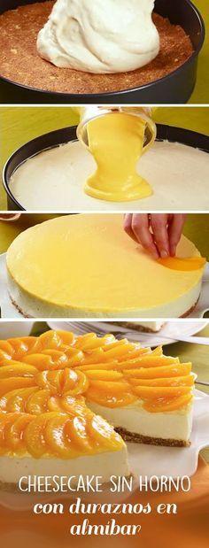 Receta económica que combina un clásico: el cheesecake sin horno y los duraznos en almíbar. El postre perfecto para este verano