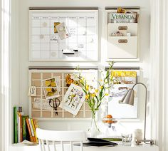 Great wall system for kitchen desk area from Pottery Barn