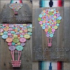 Heißluftballon-Kinderzimmer-Dusche durch NailedItCustomCrafts: Hot Air Balloon Nursery Shower by NailedItCustomCrafts: Balloon iDeen 🎈 # Hot air balloon nursery shower shower ideas for a boy Fun Crafts, Diy And Crafts, Wood Signs Home Decor, Original Design, Creation Deco, Ideias Diy, Baby Shower Balloons, Playroom Decor, Button Art