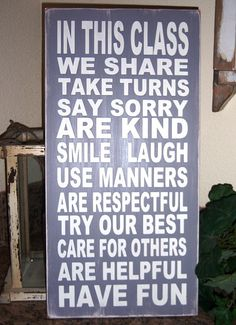 In This Class, Classroom Rules Typography Wood Sign, Subway Art Sign, Teachers, Teacher Gifts on Etsy, $59.95