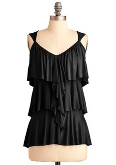 Ruffling It Top in Black, #ModCloth