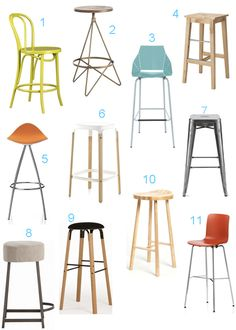 A Great roundup of Bar + Counter Stools from Style Carrot - she knocked it out of the park with this one!