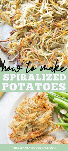 Rosemary Spiralized Potatoes are an easy, healthy side dish that go with any meal! Baked until perfectly crispy, whole30, vegan, paleo friendly and so delicious! This is one of my favorite recipes- learn how to make the best crispy potatoes! #paleo #healthy #whole30 Healthy Potato Recipes, Easy Clean Eating Recipes, Easy Whole 30 Recipes, Healthy Gluten Free Recipes, Clean Eating Diet, Vegetarian Recipes, Whole30 Recipes, Crispy Potatoes, Vegetarische Rezepte