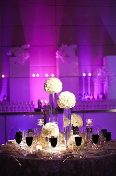 The lighting makes this magnificent! Black, White decor. Modern, Chic look! Black and white reception decor.