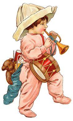 Dolls & Toys by Efi on Etsy Painted Christmas Ornaments, Victorian Christmas, Vintage Christmas Cards, Christmas Art, Christmas Stockings, Xmas, Images Victoriennes, Mug Cozy, Christmas Illustration