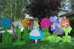 Wonderland garden of talking flower props created by WONDERLAND PARTY PROPS. For party prop rental please call  661 250-8164