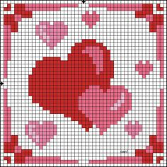 double hearts Alpha Pattern added by Pixel Crochet, Crochet Quilt, Tapestry Crochet, Crochet Chart, Cross Stitch Heart, Beaded Cross Stitch, Cross Stitch Embroidery, Bead Loom Patterns, Beading Patterns