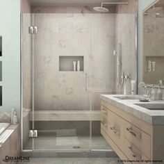 DreamLine Unidoor-X 63 1/2 - 64 in. W x 72 in. H Hinged Shower Door in Chrome Finish, As Shown