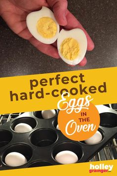 make hard cooked eggs (aka hard boiled eggs) in your oven in just a few quick steps. Healthy Meals For Kids, Kids Meals, Healthy Snacks, Healthy Recipes, Baked Hard Boiled Eggs, Good Food, Yummy Food, Star Food, Delicious Breakfast Recipes
