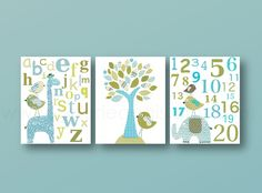Blue and green Nursery art baby boy nursery nursery wall art alphabet giraffe numbers elephant bird tree set of three prints by GalerieAnais on Etsy https://www.etsy.com/listing/150522481/blue-and-green-nursery-art-baby-boy