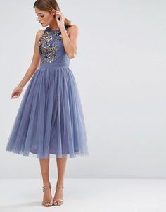 Little Mistress - Robe mi-longue ornementée avec jupe en tulle gris bleuté