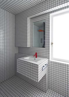 Bathroom design in small white squares | we love the lining