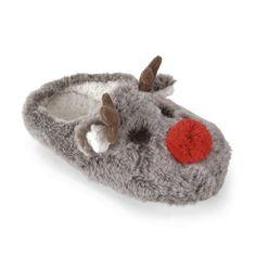 788c8cc03c6 Ladies Red Pom Pom Nose Reindeer Plush Brown Faux Fur Slippers. Heat Treats
