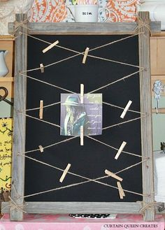If you have weathered wood, twine, cardboard, fabric, clothes pins, u-nails, and staple gun, you can easily make this project!